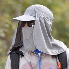Fashion Bag บังแดดร้อนคอห้อยพับหมวกหน้ากากใบหน้าสวมหน้ากากตาข่าย (หมอก)