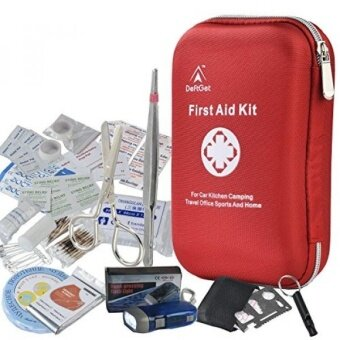 First Aid Kit - 163 Piece Waterproof Portable Essential Injuries  Red Cross Medical Emergency equipment kits : For Car Kitchen Camping Travel Office Sports And Home - intl