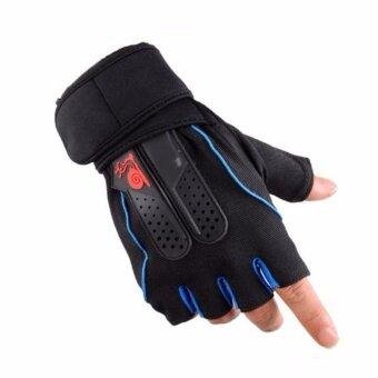 ถุงมือ ฟิตเนส ยกน้ำหนัก มีสายรัดข้อ fitness weight lifting gloves