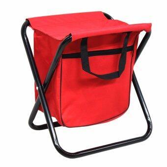 GALAXY เก้าอี้ปิคนิคพับได้ พร้อมกระเป๋า (สีแดง)