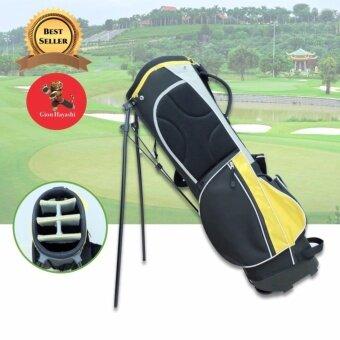 Gion - ถุงกอล์ฟผ้าร่ม กันน้ำ แบบขาตั้ง ( สีดำ คาดเหลือง )