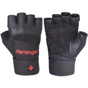 Harbinger 140 ถุงมือฟิตเนส มีสายรัดข้อ ถุงมือหนัง สำหรับยกดัมเบล (Black )