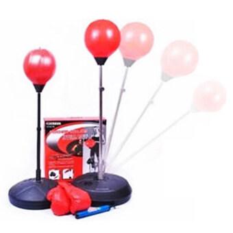 Smilelyชุดอุปกรณ์ชกมวยPunching-ball อุปกรณ์มวยไทย นวมมวย กีฬา มวย ออกกำลังกาย ลดน้ำหนักSmile0052สีแดง