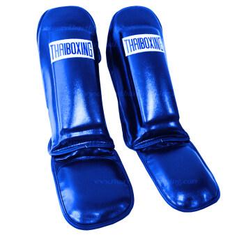 THAIBOXING สนับแข้งมีปลายขาหนังเทียม สีน้ำเงิน