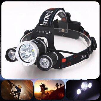 Hayashi - Headlamps ไฟฉาย LED T6 คาดหัว 2000 Lm CREE XM-L XML 3x T6 LED Headlight Head Lamp Light Flashlight Headlamp (Black)
