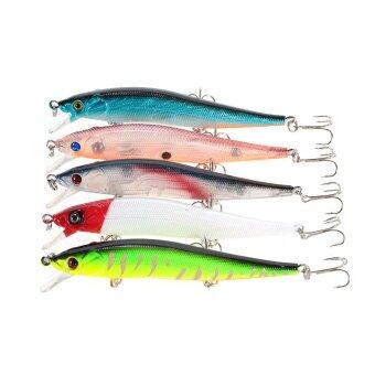 Harga 5pcs 12cm/13.5g Hard Bait Minnow Lure Fishing Artificial Baits with 3 Hooks Swimbait Fishing Tackle - intl