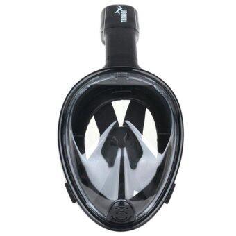 โอ้ทั้งหน้ากากใบหน้าตื้นดำน้ำลึกดำน้ำตื้นพื้นผิวแห้งแว่นตาดำน้ำ L/XL สีดำ