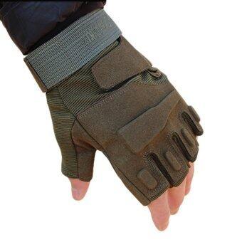 ครึ่งนิ้วใส่ซิลิกาเจลลื่นโบกไม้โบกมือไมโครไฟเบอร์ถุงมือยุทธวิธีการออกกำลังกาย