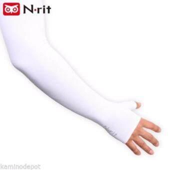 N-rit ปลอกแขนกัน UV แบบคล้องนิ้ว สีขาว