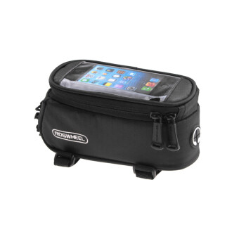Harga 4.8 Inch Front Bicycle Panniers Bike Waterproof Touchscreen Saddle Bag Cycling Bag For Cell Phone Black