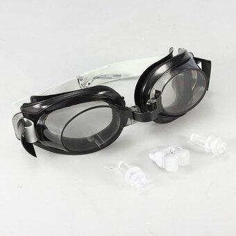 ป้องกันหมอกหลอดยูวีป้องกันผู้ใหญ่ว่ายน้ำแว่นตาว่ายน้ำลึก (สีดำ)