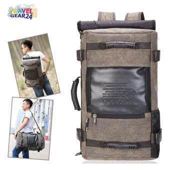 TravelGear24 กระเป๋าเป้ กระเป๋าสะพาย กระเป๋าเป้เดินทาง Outdoor Canvas Backpack Bag (Brown/สีน้ำตาล)