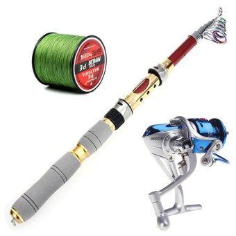 Elit รอกตกปลา รอกสปินนิ่ง SY2000 พร้อม เอ็นตกปลา SeaKnight 300M ขนาด3.0 และ เบ็ดตกปลาพกพา 2.1m