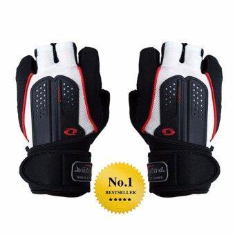 Elit ถุงมือ ฟิตเนส ยกน้ำหนัก มีสายรัดข้อ fitness weight lifting gloves (White)