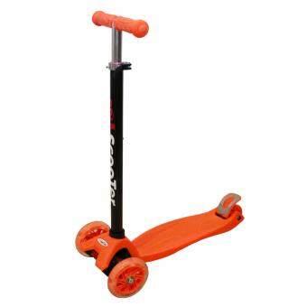 Scooter รถสกู๊ตเตอร์ 4 ล้อ - รุ่นใหม่ล้อมีไฟ LED ปรับความสูงได้ - สีส้ม