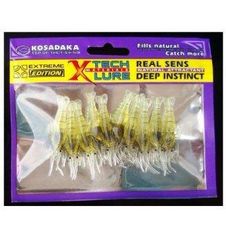 fight for fish(ing) เหยื่อปลอม กุ้งยาง สีเหลืองใส 4 ซม.