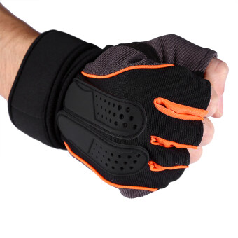 1 Pair Weight Lifting Training Fitness Exercise Half Gloves (Orange/L) - intl