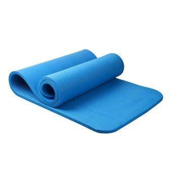 Smilely 10 mm เสื่อโยคะNBR + แผ่นรองโยคะ หนาพิเศษยาว183 cm เกรดA ชุดโยคะ แผ่นรองโยคะ เสื่อโยคะ Smile0077-blue สีน้ำเงิน