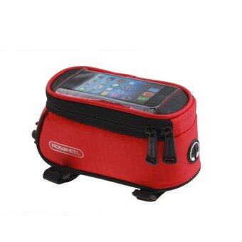 Harga 4.8 Inch Front Bicycle Panniers Bike Waterproof Touchscreen Saddle Bag Cycling Bag For Cell Phone Red