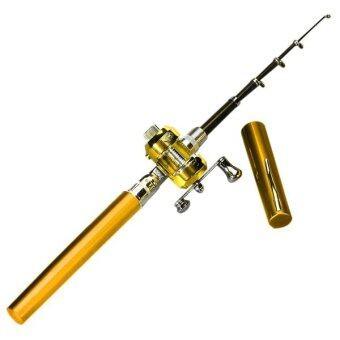 ปากกามินิแบบพกพากระเป๋าอลูมิเนียมอัลลอยรูปทรงปลาคันเบ็ดรอกเสาสีเหลืองทอง