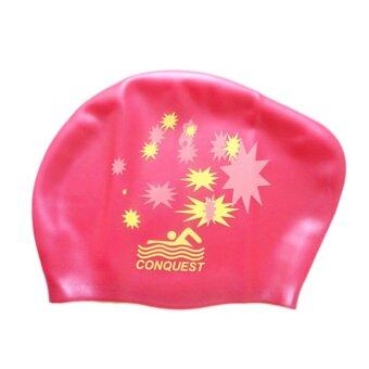 Harga Up Waterproof Silicone Swim Cap Hat For Ladies Women Long Hair With Ear Cup Rose - intl