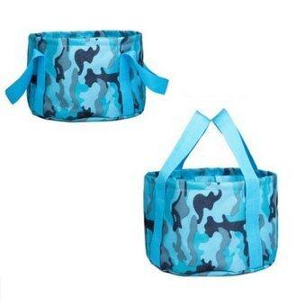 DJSHOP กระเป๋าใส่น้ำ พับเก็บได้ ขนาด 15L(สีฟ้าลาย BLUE MIC)