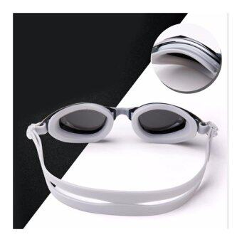 แว่นตาว่ายน้ำ เลนส์สายตาสั้น สีเงิน สำหรับคนสายตาสั้น-500 กันUV400 และป้องกันฝ้า