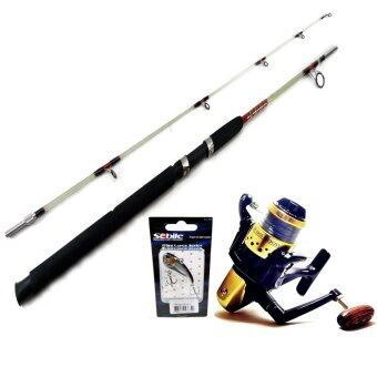 Tonlew Set Fishing ชุดคันตัน 6ฟุต+รอกBG 2000 ลูกปืน5ตลับ รุ่นใหม่ แถมฟรีเหยื่อปลอม สำหรับตกปลาช่อน ชะโด