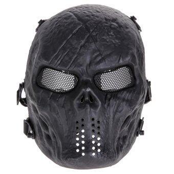Airsoft หน้ากากหัวกะโหลกบอลการป้องกันแบบเต็มหน้า (สีดำ)