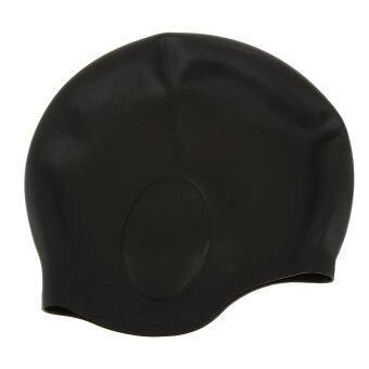 ซิลิโคนกันน้ำว่ายน้ำหมวกผู้ใหญ่ยืดพับได้สระว่ายน้ำหมวกสีดำ (ในประเทศ)