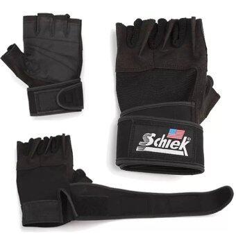 Schiek ถุงมือยกน้ำหนัก ถุงมือฟิตเนส ถุงมือหนัง Fitness Glove (Black)