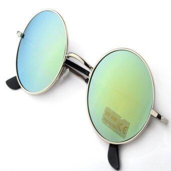 เพศชายหญิงรุ่นร้อนกรอบแว่นตาแว่นกันแดดแว่นตากลมโลหะ