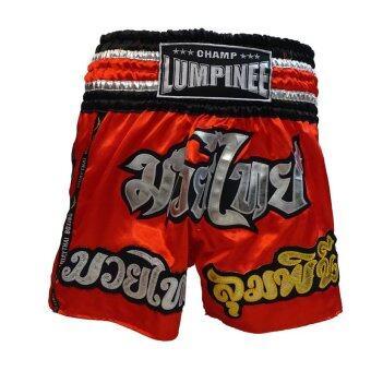 Champ Lumpinee, กางเกงมวย Muay Thai Boxing Shorts, 3เส้น (แดง)