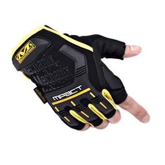 Mechanix ออกกำลังกายในยิมกีฬาทหารบกยุทธวิธีถุงมือครึ่งนิ้วนิ้วรถจักรยานยนต์คนสีเหลือง