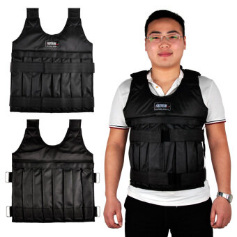 Harga SUTENG 20kg Weighted Vest With Sholder Pads Comfortable Weight Jacket Adjustable Sanda Exercise Boxing Sand Clothing (Empty)