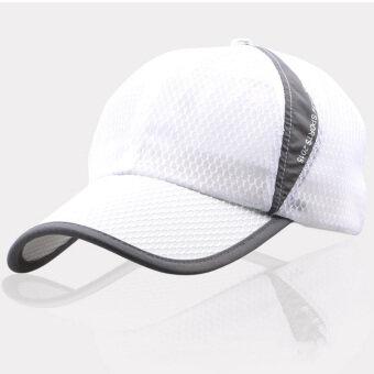 เพศหมวกเบสบอลคลาสสิคตาข่ายสนามกีฬากลางแจ้งคนเฝ้าศูนย์ปรับได้ใส่หมวกขาว