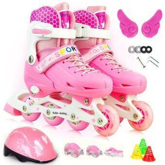 รองเท้าสเก็ต พร้อมอุปกรณ์ รุ่น Let's cool ไซด์ 34-37M (สีชมพู) (image 0)