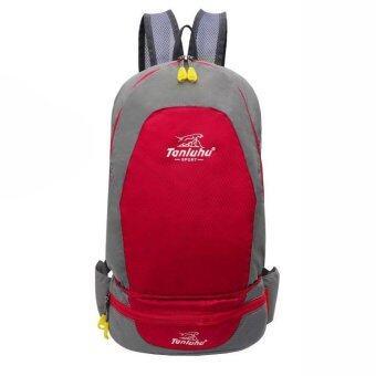 Tanluhu กระเป๋าเป้สะพายหลังแบบพับเป็นกระเป๋าคาดเอวได้ (สีแดง)