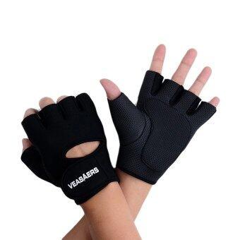ถุงมือสำำหรับปั่นจักรยาน และ ออกกำลังกาย ครึ่งนิ้ว (สีดำ)