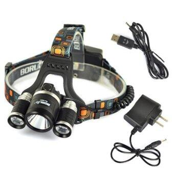 Harga Boruit 30W 8000LM 3x XM-L2 LED 18650 Headlight Headlamp Torch USB Lamp+Charger - INTL