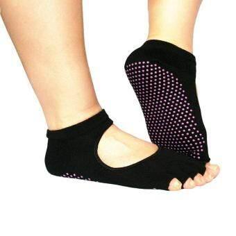 ถุงเท้าออกกำลังกายกันลื่น Anti Slip Socks (ดำ 1 คู่+เทา 1 คู่)