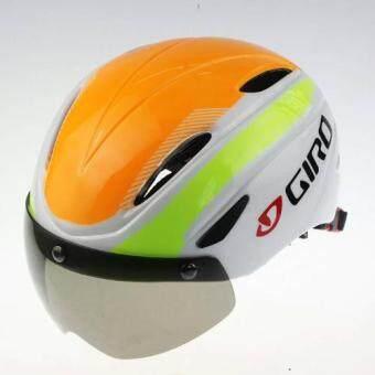 CBIKE Giro หมวกกันน็อกจักรยาน+พร้อมแว่นตาในตัว หมวกจักรยาน หมวกทรงแอโร่ สีส้มเหลือง ใส่ได้ทั้งชาย/หญิง(57-62)