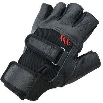 SUPER SPORT ถุงมือ ฟิตเนส ยกน้ำหนัก เทรนนิ่ง Sports Weight Lifting Half Finger Gloves -Black