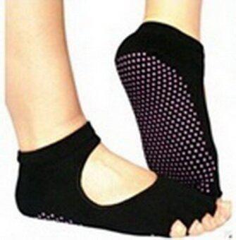 ถุงเท้าออกกำลังกายกันลื่นAnti Slip Socks (ดำ1คู่+ม่วง1คู่)