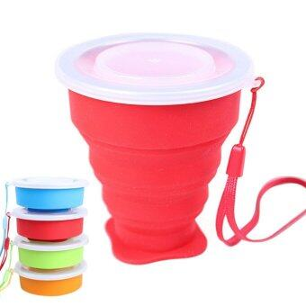Harga LT365 Portable Folding Collapsible Silicone Cup Pop Up Cup Outdoor Travel Camping Hiking Home Mug with Lid & Strap - Red - intl