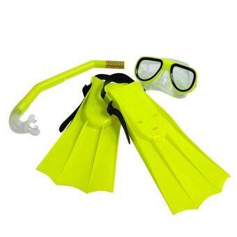 Kid Diving Set อุปกรณ์ดำน้ำ + ตีนกบ สำหรับเด็ก - Green Yellow