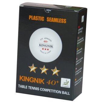 KINGNIK ลูกปิงปองพลาสติค 3 ดาว 40 + (ITTF Approved) 1 กล่อง 6 ลูก (สีขาว)