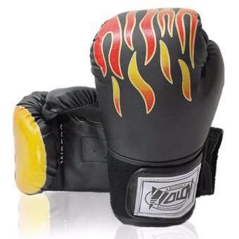 Kinglion Sport นวมชกมวยลายไฟสีดำ ขนาด12ออนซ์ นวมมวยสำหรับผู้ใหญ่ นวมต่อยมวยผู้ชาย นวมซ้อมมวยไทย นวมลายไฟ 12OZ BLACK PU Leather Muay Thai Kick Boxing Gloves for Men