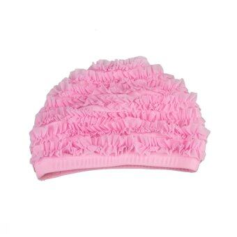 Harga Fashion Womens Ladies Girls Elastic Waterproof Ear Protective Bathing Swimming Hat Swim Cap Pink - intl