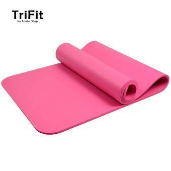 TriFitness High Grade 10mm NBR เสื่อโยคะ 183x61x1cm Extra Thick Non-Slip Mad มาพร้อมสายรัด แถมฟรี (สีชมพู)